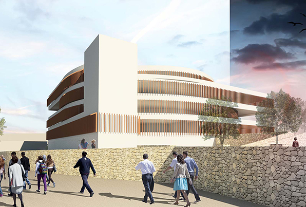 Málaga. 3 edificios oficinas en la Zona de Ampliación del Parque Tecnologico Andalucia. Concurso. 2 Clasificados
